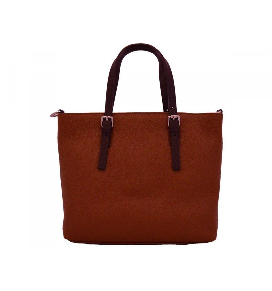 424549b41 Bolso de piel shopper marrón claro. Loading zoom