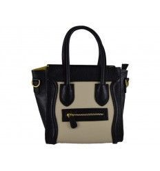 Bolso de piel estilo Celine Boston Pocket bicolor blanco y negro