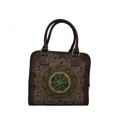 Bolso bordado étnico multicolor marrón