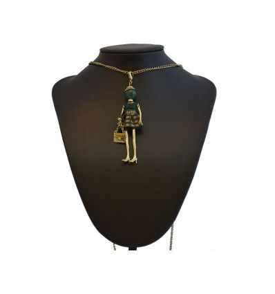 "Collar ""Fashion Doll"" cuadros verde"